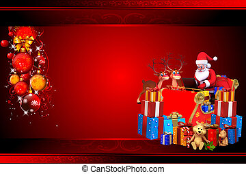 santa with gifts on red background