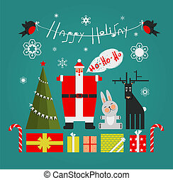 Santa with Gifts Presents Deer and New Year Tree - Vector...
