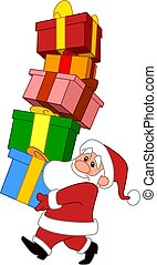 santa with gifts stack