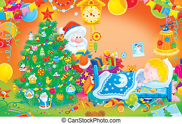 The night before Christmas, Santa Claus putting gifts under a Christmas tree