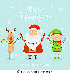 Santa with Happy Elf and Deer Holding Christmas Light on Blue Background
