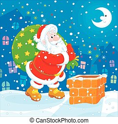 Santa with his bag of gifts - The night before Christmas, ...