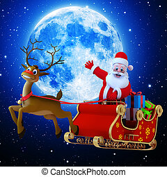 Santa with his Sleigh and lots of gifts flying in the sky.