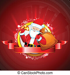 Santa with Jingle Bell - illustration of Santa Claus ringing...