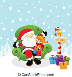 Little kid sitting on santa; s lap waiting for his gift.