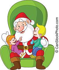 Santa with kids - Happy kids sitting on Santa?s lap