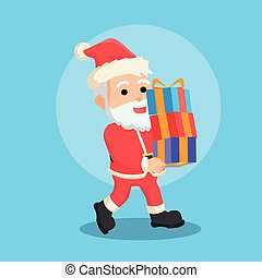 santa with many christmas gifts