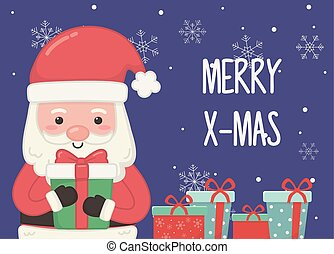 santa with many gifts merry christmas card