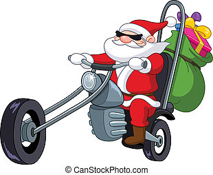 Santa with motorcycle - Santa on a motorcycle