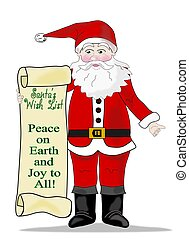 Santa with Peace To All Scroll