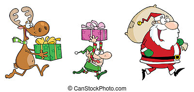 Happy's Santa Claus, Elf and Reindeer Runs With Gifts