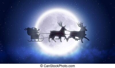 Santa with reindeer flies over moon