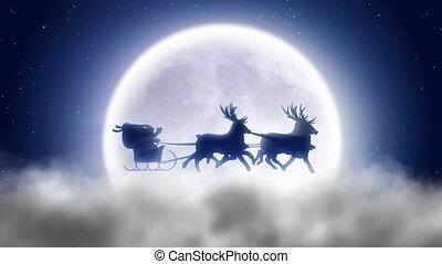 Santa with reindeer flies over nigh