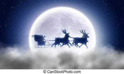 Santa with reindeer flies over nigh