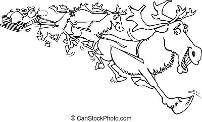 santa with reindeer for coloring