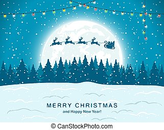 Santa with Reindeer on Blue Christmas Background