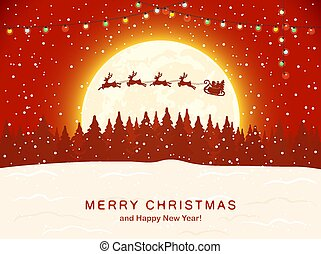 Santa with Reindeer on Red Christmas Background