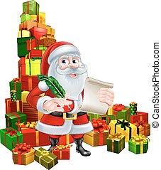 Santa With Scroll and Gifts - Christmas cartoon of Santa...