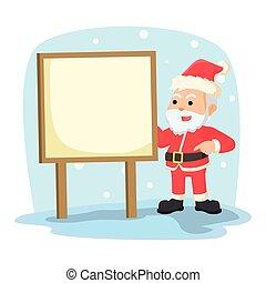 santa with sign illustration design