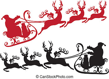 santa with his sleigh and reindeer, vector christmas background