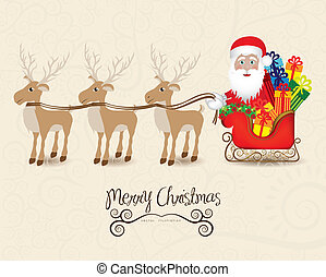 Santa with sleigh and reindeers