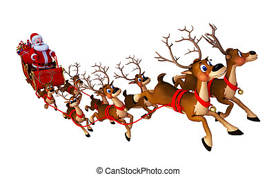 santa and his 8 reindeer with sleigh