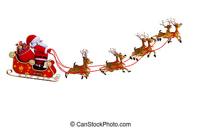 santa with sleigh santa and his 8 reindeer with sleigh - Reindeer With Santa