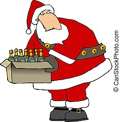 This illustration depicts Santa carrying a case of wine.