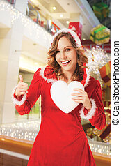 santa woman christmas hearth thumbs up
