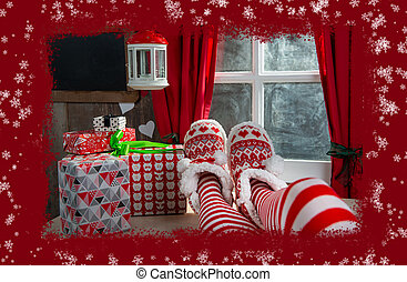 Santa woman legs with gifts . Christmas holiday concept