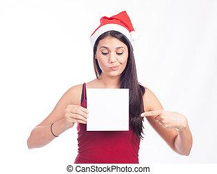 Santa woman showing blank sign