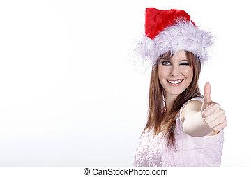 Santa woman showing thumbs up