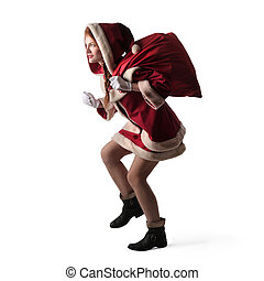 Santa woman - Woman in Santa costume with bag