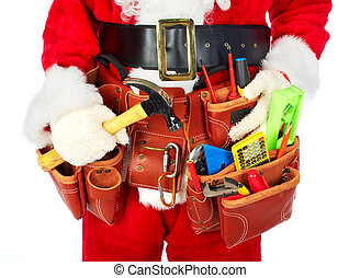 Santa Worker with a tool belt. - Santa Worker with a tool...