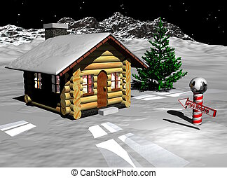 Santa Workshop - An image of a very humble log cottage with ...