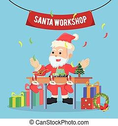 santa workshop illustration design