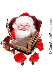 Santa writing in the book of names of good children