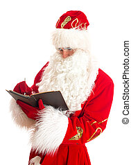 Santa writing list of gifts. Isolated on white.