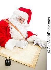 Santa Writing List on Parchment