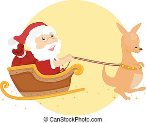 Santa Xmas Kangaroo Sleigh Illustration
