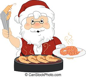 Santa Xmas Prawn On The Barbie Illustration - Illustration...