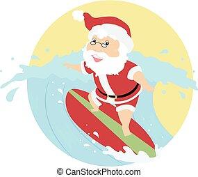 Santa Xmas Surfing Illustration