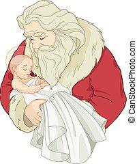 santa, y, bebé jesús