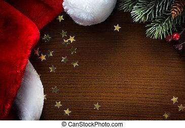 santa, year;, arbre, joyeux, nouveau, chapeau, noël, heureux