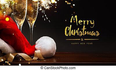 santa, year;, joyeux, nouveau, champagne, chapeau, noël, heureux