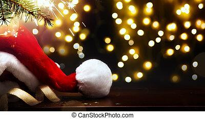 santa, year;, lumière, arbre, joyeux, nouveau, chapeau, noël, heureux