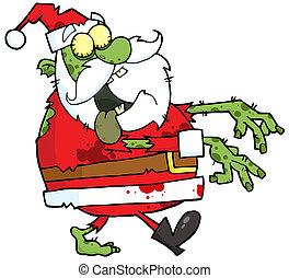 Santa Zombie Cartoon Character - Santa Zombie Walking With...