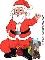 santaclaus, ベクトル, クリスマス, gifts.