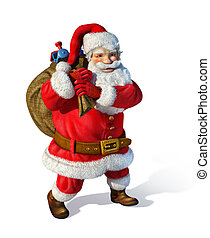 Santaclaus standing with bag behind his shoulders, with toys inisde. On white background.
