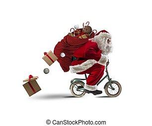 santaclaus, sur, les, vélo